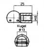 Подсоединение A73-B73, Ø13, резьба М8. Шарнир (сталь/черный)