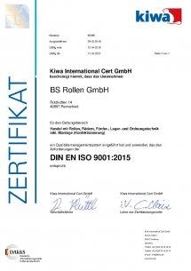 Сертификат качества продукции компании BS Rollen (Германия)